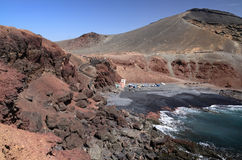 Ocean bay with volcano hills Stock Photography