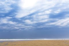 Ocean beach on the Atlantic coast of France near Lacanau-Ocean, Bordeaux royalty free stock photos