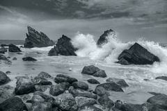 Ocean beach - Big waves breaking - Black and White artistic Royalty Free Stock Photography