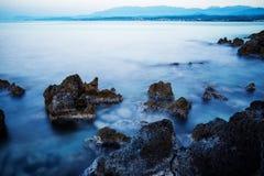 Ocean beach on the Crete long explosure. Ocean beach with turquoise water on the Crete long explosure Royalty Free Stock Photo