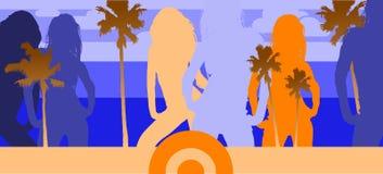 Ocean Beach Disco Party. Vector Illustration Stock Image
