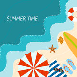 Ocean beach, flat style, elements of summer holiday. Stock Photography