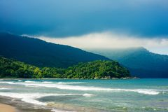 Ocean beach and hills in Brazil Royalty Free Stock Photography