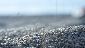 Ocean Beach Image with Sand and Gravel in Close Up View.  stock video