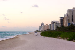 Ocean beach in the morning, Miami Beach, Florida. Stock Images