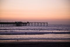 Ocean Beach pier at dusk  San Diego Royalty Free Stock Images