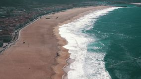 Ocean Beach in the Portuguese Town of Nazare stock video