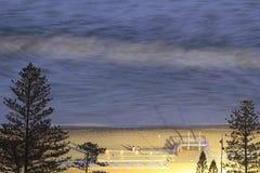 Ocean Beach Promenade Long Exposure At Night Royalty Free Stock Image