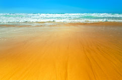 Ocean beach in summer under blue sky. Waves lapping on shore Stock Image