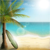 Ocean beach with surf board Stock Photo