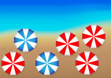 Ocean and Beach Umbrellas Stock Photos