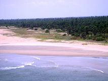 Ocean, beach and the vegetation. Sandy beach area and the green vegetation next to it Stock Photography
