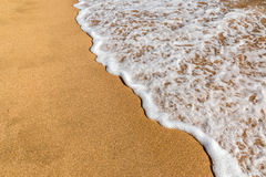 Ocean beach wave. A small wave flows over a tropical sandy beach Stock Photography
