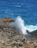 Ocean Blowhole in Maui. An ocean tidal blowhole on the west side of Maui, Hawaii is a major tourist attraction Stock Photo