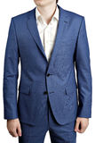 Ocean blue stain elegant suit, with blazer with two buttons. Royalty Free Stock Photo