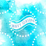 Ocean blue watercolor. Background with frame for wavy season, wet vector backdrop design Stock Photo