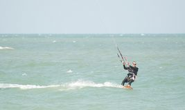 Ocean Bluesky and Kitesurf at Thailand Stock Photo