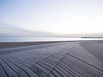 Ocean Boardwalk Background. A boardwalk on Port Phillip Bay in Melbourne at dusk Royalty Free Stock Image