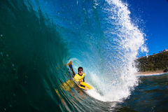 Ocean Body Boarding Hollow Wave Royalty Free Stock Photos