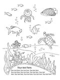 Ocean bottom frame. Coloring book page in doodle stile. Marine inhabitants, hand draw sketch Stock Images