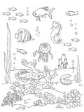 Ocean bottom sketch. Ocean bottom. Coloring book page in doodle stile. Marine inhabitants, hand draw sketch Stock Image