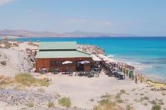 Ocean Café. A little beach café close to  the holiday resort Playa Calma on the Canary island of Fuerteventura. Spain Stock Images