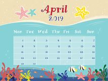 The Ocean Calendar of April 2019. royalty free illustration