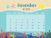The Ocean Calendar of December 2019. vector illustration