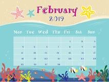 The Ocean Calendar of February 2019. vector illustration