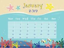 The Ocean Calendar of January 2019. stock illustration