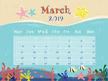 The Ocean Calendar of March 2019. royalty free illustration