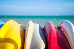 Ocean Canoes in Key West. Overlooking the ocean royalty free stock photography