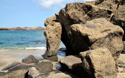 Ocean carved boulders Royalty Free Stock Photo