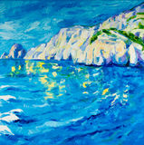 Ocean and cliffs. Original oil painting of  ocean(sea) and cliffs on canvas.Modern Impressionism Royalty Free Stock Photos