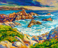 Ocean and cliffs. Original oil painting of  ocean(sea) coast and cliffs on canvas.Modern Impressionism Royalty Free Stock Photography