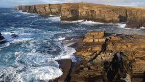 Ocean Cliffs. A birdseye view of the cliffs along the coastline of Yesnaby, Orkney Island, Scotland stock image