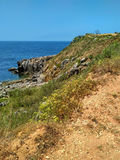 Ocean cliffs near Cabo Carvoeiro daylight, Peniche Royalty Free Stock Photography