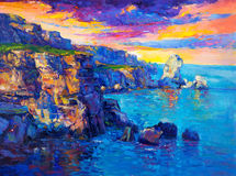 Ocean and cliffs. Original oil painting of  Ocean and cliffs on canvas.Rich golden  Sunset over ocean.Modern Impressionism Royalty Free Stock Image