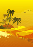 Ocean coast. Vector illustration of abstract background with sunrise on the ocean coast Royalty Free Stock Photography