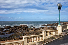 Ocean Coast With Balustrade And Street Lamp Stock Images