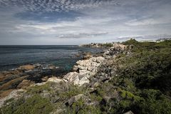 Ocean and coast landscape in Hermanus, South Africa. Beautiful ocean and rocky coast landscape in Hermanus, South Africa Stock Photography
