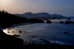 Ocean Coast in Moonlight. Oregon. Stock Photo