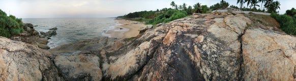 Ocean coast (panorama), Kovalam, Kerala, South India Royalty Free Stock Images