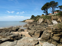 Ocean coast with rocks. Pornic, France Stock Image