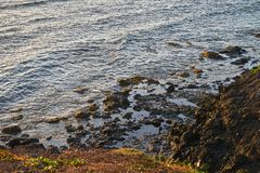 Ocean coast with rocks and waves. Beautiful seascape.  royalty free stock photography
