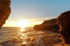 Ocean coast at the sunrise. Thunder Cove, Prince Edward Island, Canada Stock Image