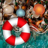 The ocean coast. Surf. Wet pebbles. Sea waves. Pebble beach with life buoy, seashells and sea star. 10 eps Stock Image