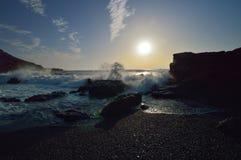 Ocean coast, wave splash. El Golfo. Stock Photo