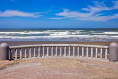 Ocean coastline landscape. With railings on a foreground Royalty Free Stock Images