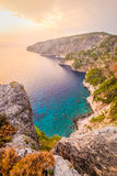 Ocean coastline landscape view at sunset, Zakynthos island Royalty Free Stock Photography